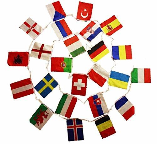 HAAC Fahnen Girlande Wimpelkette mit 24 Teilnehmer Länder 7 Meter Größe je Fahne 21 cm x 14 cm Fußball EM 2016