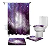 KUKUALE Juego De 4 Cortinas De Ducha Starry Sky Nebula Cosmic Dream Color Cortina De Ducha Juego De Fundas De Asiento De Inodoro Accesorios De Baño Alfombra Decoración De Baño 180X180CM(71X71pulgada)