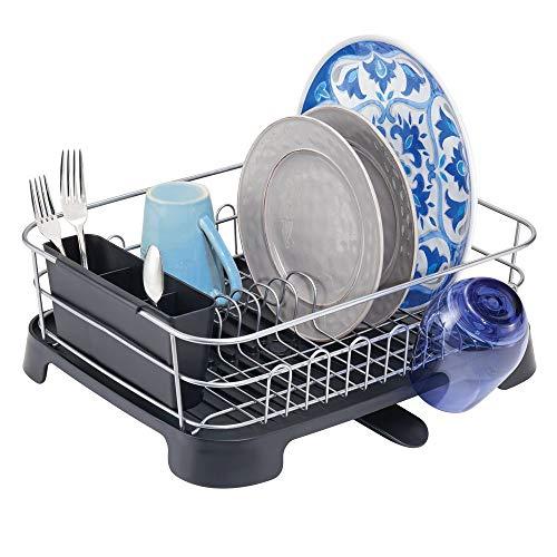 mDesign Abtropfgestell aus Kunststoff – Geschirrabtropfgitter mit schwenkbarem Ausgießer – Geschirr Abtropfkorb mit Besteckkorb für ein Trocknen auf der Arbeitsplatte – silber/schwarz