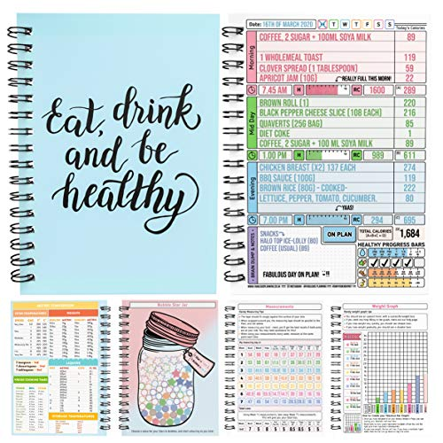 Calorie Counting Food Diet Diary Log Planner A5 Wired Bound Journal Weight Loss Wellness Fruit Health 7 Week Duration Blue with Stickers[48] 2021