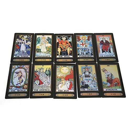 Jinete de 78 Tarjetas, Deck Vintage Tarot Cards Juego de Cartas Waite Future Telling con Caja de Colores para el Viaje de Fiesta, Mini, Portátil y Fácil de Quitar.