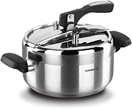 korkmaz Turbo Stainless Steel Induction Compatible Pressure Cooker Silver, Manual Slow Cooker, Rice Cooker, Steamer, Saute...