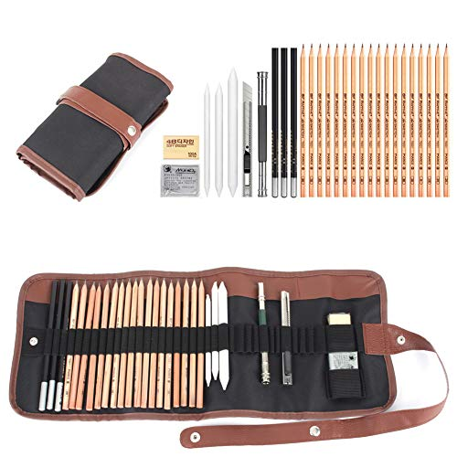 18 Zeichenstift-Set, anthrazit Bleistift Radierer Messer Zeichnen Pencil Sketch Set mit Canvas Bleistift Tasche Weihnachten Geschenk für Kinder oder Anfänger Künstler Student