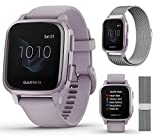 Garmin Venu Sq (Orchid) Extra Style Band Bundle   with Extra Milanese Metal Watch Band (Silver) by...