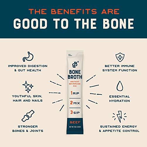 Bare Bones Bone Broth Instant Beverage Mix, Beef, 10g Protein, Keto & Paleo Friendly, 0.53oz, Pack of 16