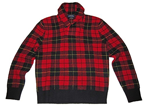 Ralph Lauren Polo Plaid Lambswool Shawl Collar Sweater Red Black (Large)