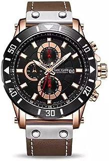 Megir ML 2081 -2 Leather Round Analog Watch for Men -brown