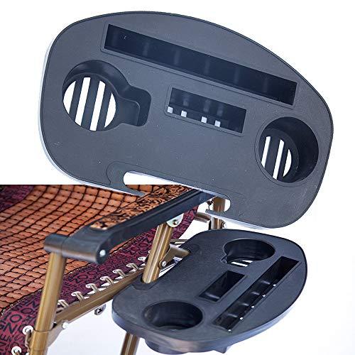 TIREOW 2 Stück Clips auf den Stuhl Strandkorb Tablett Tisch, Outdoor Camping Klappbare Kunststoff Lounge Strandkorb Liege Wasserbecher Tablett