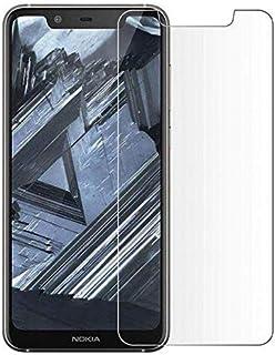 شاشة حماية من الزجاج المقوى لموبايل نوكيا 5.1 بلس، (نوكيا X5) من هانش، سوداء، شفافة