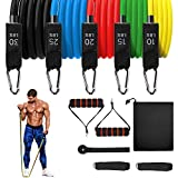 Resistance Bands Set (11Pcs),Fitness Exercise Bands with Door Anchor, Legs Ankle Straps, Foam Handles, Carry Bag - for Resistance Training, Home Workouts,Physical Therapy, Yoga, Pilates (100, Neutral)