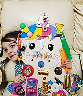 Unicorn Busy board Sound 18 x 21 in. Toddler and Baby toy Activity Sensory board Playroom toy Baby shower gift Early years ideas Montessori
