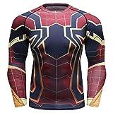 Cody Lundin Hombres Apretados Sport Fitness Manga Larga 3D Impreso Spider Compresión Long-Sleeved...