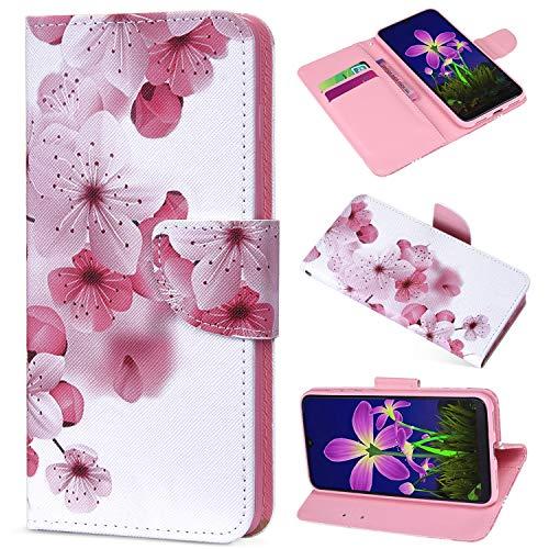 Saceebe Compatibile con Huawei P9 lite Funda de Piel Flip Wallet Case,360 Grados Anverso y reverso Cover Wallet Case Estuche de cuero pintado con cordón Bumper Case,fiore di pesco