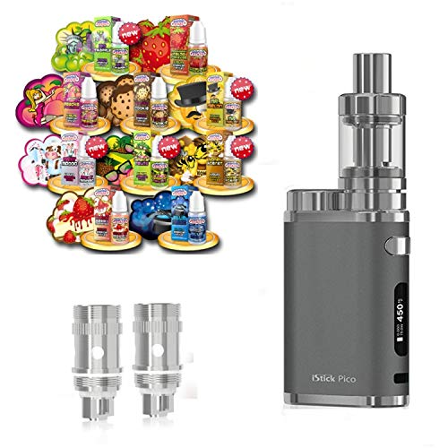 Anfänger XXL Set E-Zigarette SC produced by Eleaf Pico | iStick 75W Starterset Grau 2600mAh | TC (Temperaturregelung) | mit 10 x SC Liquids - 00mg Rauchen ohne Nikotin