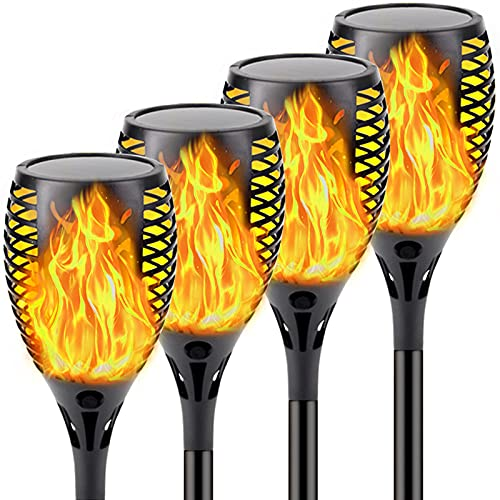 4-Pack Solar Lights Outdoor (Halloween Decorations) Solar Torch Light with Flickering Flame, Waterproof Landscape Decoration Lights for Pathway Garden Yard- Dusk to Dawn Auto On/Off