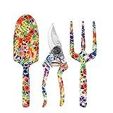 Juego de herramientas de jardín, regalos de jardinería para hombres y mujeres, herramientas de jardinería, con estampado floral: paleta, cultivador, tijera de podar