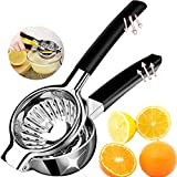 Lemon Squeezer Stainless Steel, Juicer Hand Press, Citrus Juicer, Big Lime Squeezer, Citrus Press with 3.34 Inch Large Bowl and Black Silicone Handle, Perfect for Juicing Oranges, Lemons & Limes