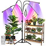 Grow Lights for Indoor Plants, 4 Head 80 LED Indoor Grow Plant Lights with Stand, Full Spectrum Red Blue White Grow Lamp, Adjustable Tripod, Auto On/Off, 4/8/12H Timer, Dual Controllers