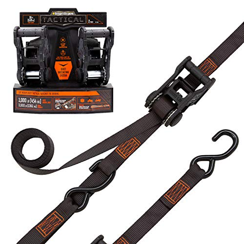 SMARTSTRAPS #4629 10-Foot Tactical Ratchet Straps, Haul Heavy-Duty Loads Like Boats and Appliances, 3,000 lbs Break Strength & 1,000 lbs Safe Work Load, 2-Pack, Black