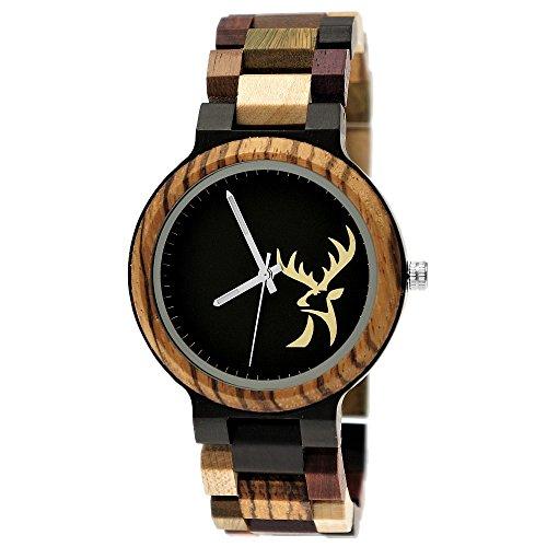 Holzwerk Germany, orologio da uomo in legno ecologico, con cervo naturale, analogico, al quarzo, con motivo cervo, marrone e nero