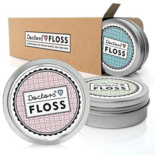 DOCTORS Floss, 3 x 100m hilo dental vegano, recargable con b