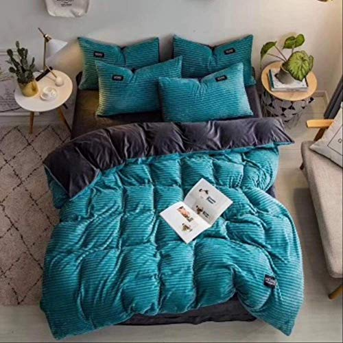 N/D 4pcs Bedding Sets Quilt Cover Bed Sheet Pillow Cover Comforter Thickened Pure Color Double Faced Cover Down Feather Duvet 150x200cm Green
