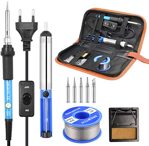 Fer à Souder Kit, SREMTCH 60W Kit de Soudage Électrique de Précision avec Interrupteur On/Off, Temperature Réglable 200~450℃, Support avec éponge, 5 Pointe Soudage, Pompe à Dessouder, Fil de Soudure