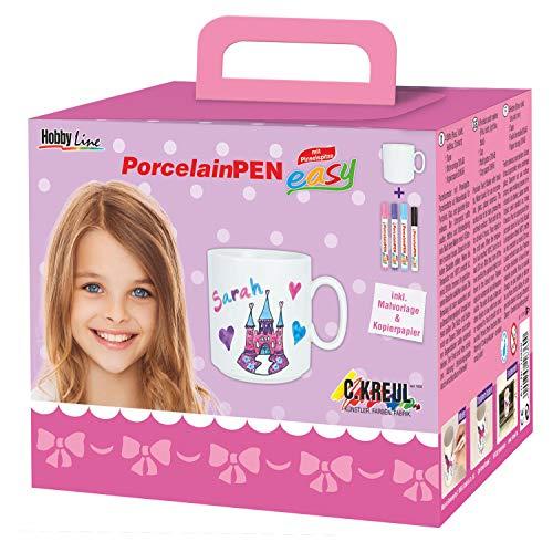 Kreul 16360 - PorcelainPen easy Tassenset Mädchen, Tasse weiß, 3 Porzellanmalstifte mit Pinselspitze in rosa, violett und hellblau, Stift mit Feinspitze für Konturen, Motivvorlage und Kopierpapier
