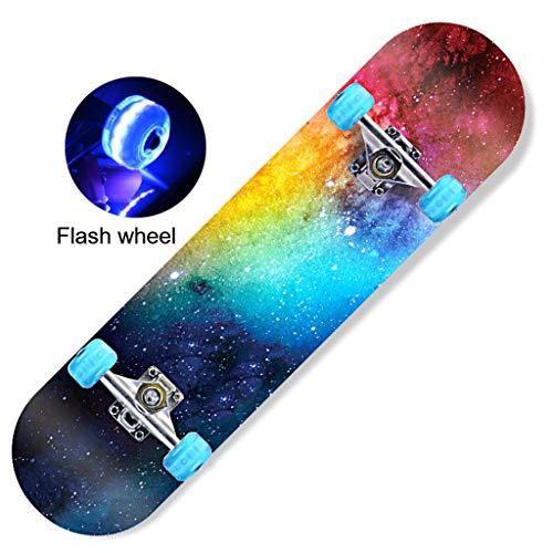 Skateboard Skateboards 31x 8 Zoll Complete For Teens Anfänger Mädchen Jungen Kinder Erwachsene, Skate Boards 7 Layer-Ahorn-Holz-Doppel Kick-Tricks Skate-Brett Konkav-Design For Anfänger Cruiser Deck