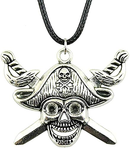 NC110 Collar Espada de Bronce Antiguo Collar de Calavera Pirata Color Plata Antiguo 45X34Mm Collar Colgante Collar de Cuero Vintage Collar de Regalo