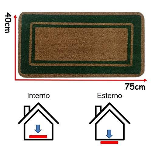 Parpyon® Felpudo para entrada de casa clásico, 40 x 80 cm, alfombra antideslizante felpudo de coco para interior y exterior, alfombras modernas