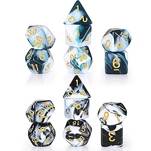 Gejoy 2 Sets Polyhedral 7-Die Dice Set Compatible with Dungeons and Dragons with Black Pouch (Lake Blue White, Black White)