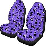 N/A Cubiertas de asiento de coche con diseño de cubo de gato Set antideslizante Protector de asiento delantero de tela Camisa de asiento de tela transpirable