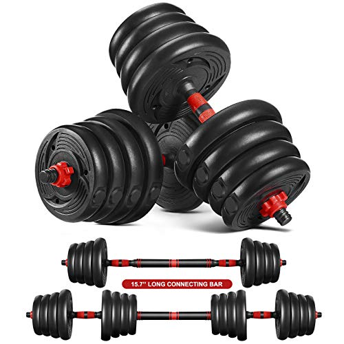 MOVTOTOP Dumbbells Set 2 in 1 Barbell Weight Set Solid Adjustable Weight Dumbbells up to 30KG with Connecting Rod Anti Slip Weight Dumbbell Set for Men Women Strength Training Workout Gym