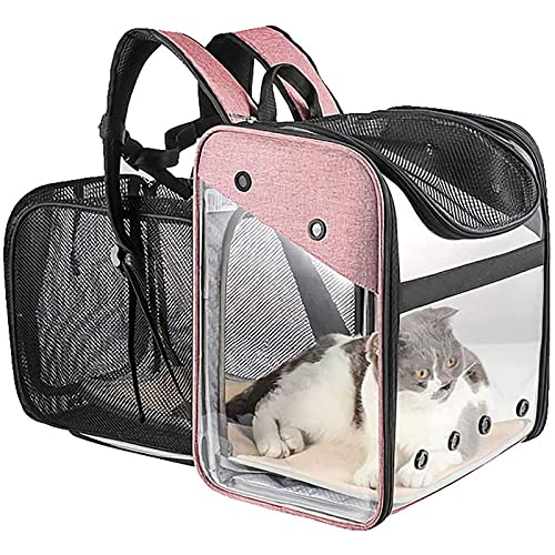 WHSPORT Transportin Gato, Transportin Perro Pequeño Mascotas Cómodo Bolso para Transporte En Tren, Coche, Avión Mediano (Color : Pink)