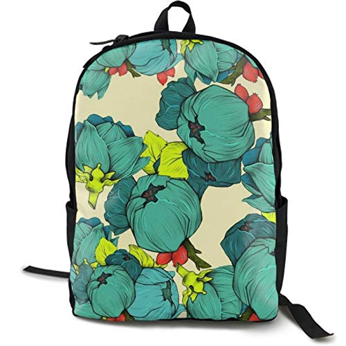 Women's Diaper Backpack College School Bag Lightweight Shabby Chic Poppy Flower Pedals Dots Leaves Buds Spring Season Theme Shoulder Bag Anti-Theft Laptop Bag High School Bags with Side Mesh Pocket