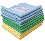 Paños de limpieza de microfibra natural, paquete de 12, azul, verde, amarillo, suave, lav...