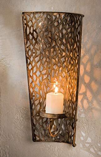 Dekoleidenschaft Wand-Kerzenhalter Shabby aus Metall mit Glas-Einsatz, Windlicht, Teelichhalter