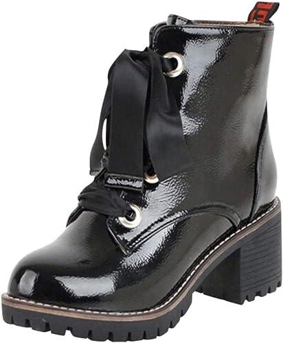 ZHRUI Stiefel Damen Schuhe Stiefeletten Frauen Runde Toe Toe Toe Freizeitschuhe Anti Rutsch Damenstiefel Cross Tied Square Heel Lederstiefel Stiefel Winterstiefel (Farbe   Schwarz Größe   42 EU)  liefern Qualitätsprodukt