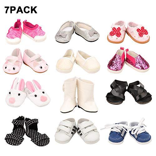 7 Stück Schuhe für 42 - 46 cm (16 - 18 Zoll) Puppe American Girl, Liebe Mio, Babypuppe (zufällige Auswahl)