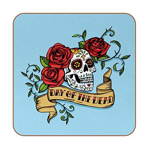 6 posavasos cuadrados de piel de microfibra para bebidas, estilo rústico, decoración del hogar, creatividad para la cocina, sala de estar, calavera del día de los muertos, color azul rosa