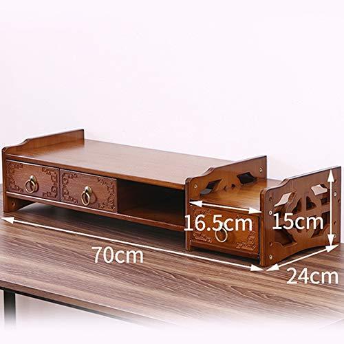 LIHUAN Stojak na monitor z litego drewna półka do przechowywania na biurko prosty uchwyt na komputer zwiększający uchwyt, H