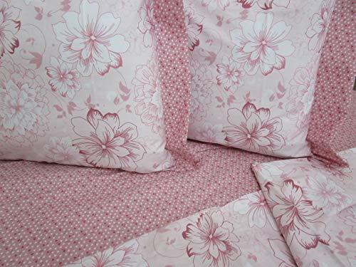 Pago Poco Bettwäscheset für französisches Bett mit 2 Kissenbezügen, Farbe: Rosa, aus reiner Baumwolle, 100% Perkal