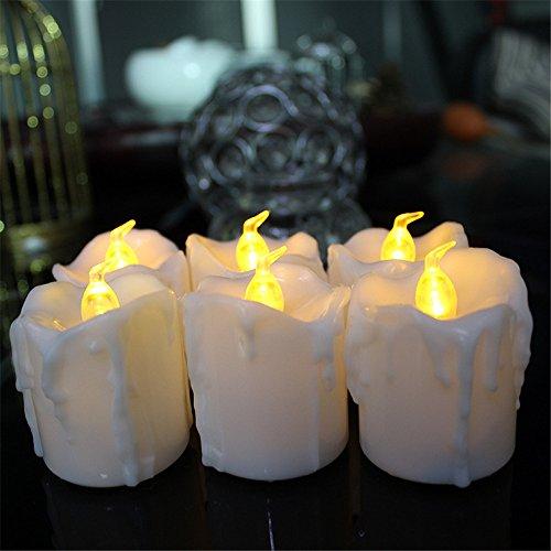 Amadoierly Larmes Haute LED Bougie Électronique Lumière Cire de Thé 12 Packs Accueil Décoration Fonction de Fonction Sur 6 H Hors 18 H / 4.3X4.5 cm