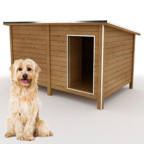 happypet® Hundehütte XL - Hundehütte in L-Format, Echtholz-Hütte DK150-2 wetterfest, isoliert, mit Windfang, Outdoor Hundehaus für große Hunde, Platz für Hundebett, mit hohen Standbeine, aus Massivholz 150 x 95 x 95 cm
