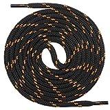 Mount Swiss runde Premium-Schnürsenkel für Arbeitsschuhe, Wanderschuhe und Trekkingschuhe - Polyester - ø 4,5 mm - sehr reißfest - Farbe Schwarz-Neonorange Länge 110cm