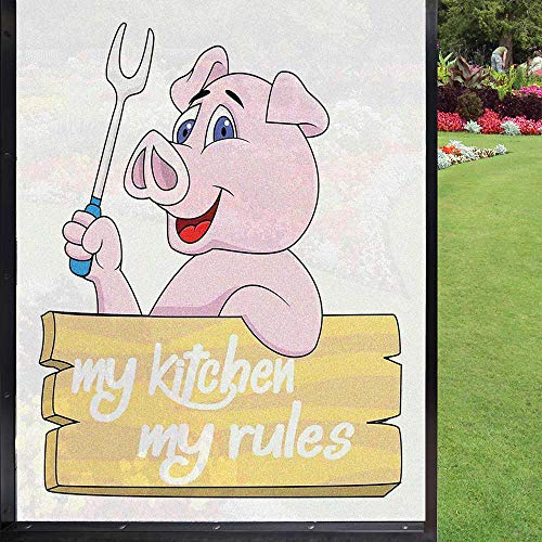 Świnia folia okienna dekoracja kuchni, prywatność folia okienna statyczna, różowa biała 60 x 90 cm