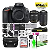 Nikon D5600 24.2MP DSLR Digital Camera with 18-55mm and 70-300mm Lenses (1580) USA Model Deluxe Bundle Includes Sandisk 64GB SD Card + Nikon Bag + Filter Kit + Spare Battery + Telephoto Lens + More