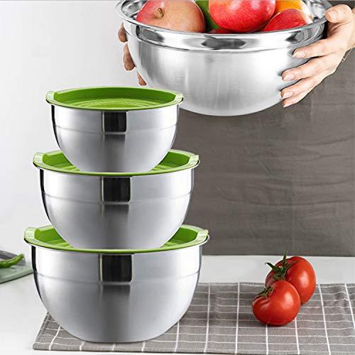 Set di 3 ciotole per insalata, in acciaio inox con coperchio, per impasti e dolci, per sbattere panna, uova, fresche e impilabili