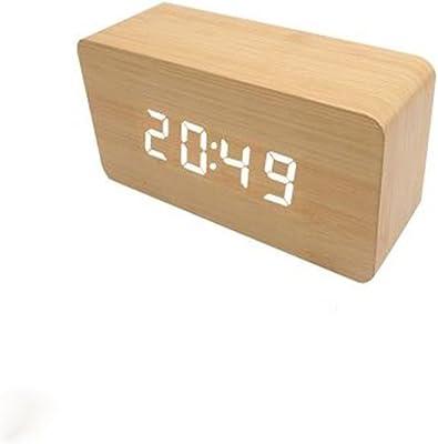 pengweiNueva moda lindo madera reloj LED controlado enchufe de fábrica de gente perezosa luminoso tranquilo reloj